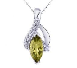 1 Carat Peridot Pendant Necklace for Women