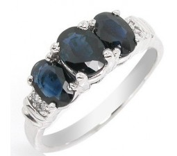 Three Stone 2 carat Sapphire past, present and future engagement ring