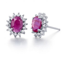 1/2 Carat Ruby flower design Earrings for Women at Inexpensive cheap price