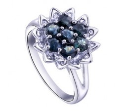 2 Carats flower Sapphire inexpensive engagement ring for women