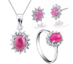 3 Carats inexpensive matching Ruby engagement ring, earrings and pendant for women