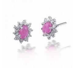1 Carat flower Ruby Earrings for women