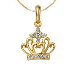1/10 Carat Crown Diamond Pendant on 10k Yellow Gold