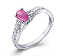 Half Carat Ruby solitaire Gemstone Engagement Ring for Women