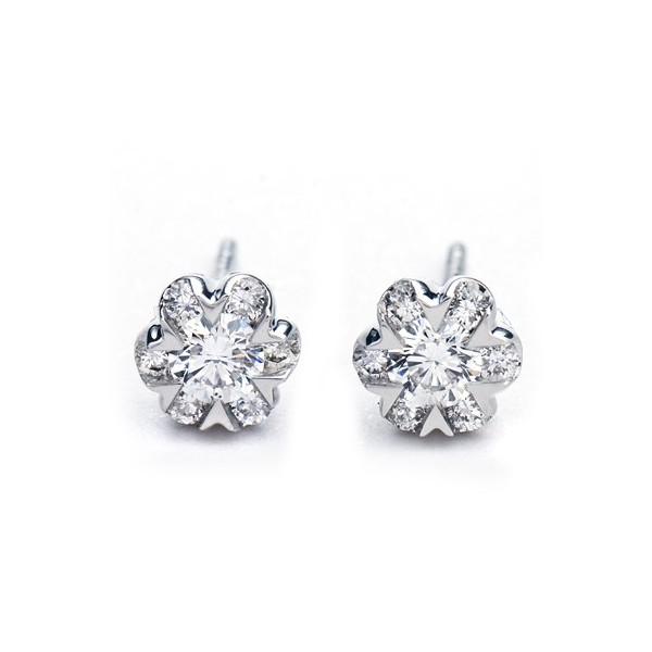 Beautiful One Carat Diamond Earrings on 18ct White Gold - JeenJewels 8f375eee1
