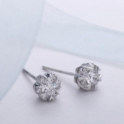 Beautiful One Carat Diamond Earrings on 14K White Gold - JeenJewels f80186443