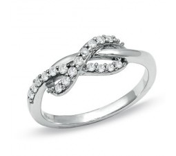 Inexpensive Diamond Infinity Ring on Gold