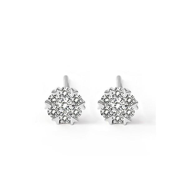 One Carat Circle Shape Diamond Earrings on 10k White Gold - JeenJewels 64c87451b