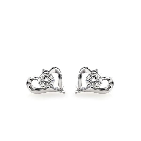 Heart Earrings Studs Heart Shape Solitaire Stud