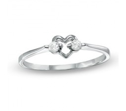 Classic Heart Diamond Wedding Ring on Sterling Silver