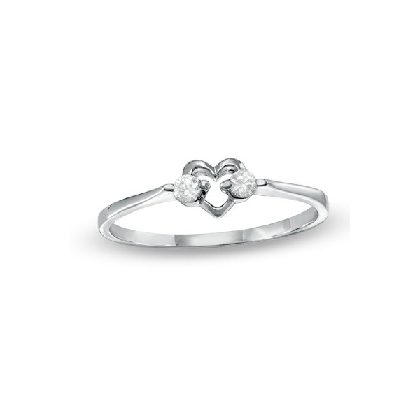 Classic Heart Diamond Wedding Ring on Sterling Silver JeenJewels