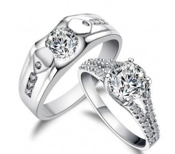 His and Her matching antique style cz Wedding Ring Set for Couples