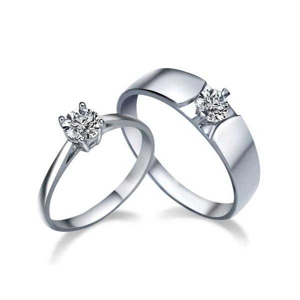 his and her matching cz wedding ring bands for couples - Wedding Ring Bands
