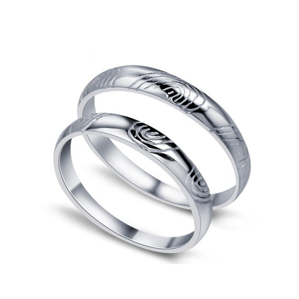 Fingerprint of love His and Her Matching Wedding Ring Set for