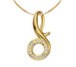1/4 Carat Movement Circle Diamond Pendant on 10k Yellow Gold