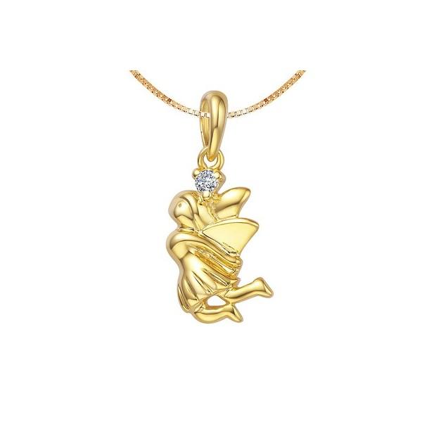 .05 Carat Diamond Angel Pendant on 10k Yellow Gold