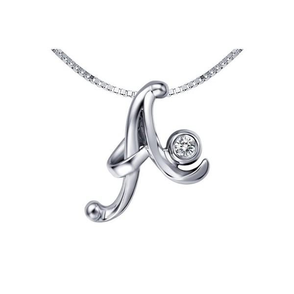 A initial diamond pendant on 10k white gold jeenjewels 1 carat diamond pendant mozeypictures Image collections
