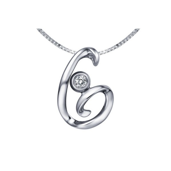 G initial alphabet diamond pendant on 10k white gold jeenjewels 1 carat diamond pendant aloadofball Image collections