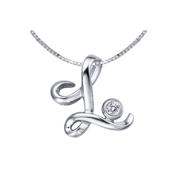 L initial alphabet diamond pendant on 10k white gold jeenjewels 1 carat diamond pendant aloadofball Image collections