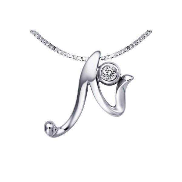 N Initial Alphabet Diamond Pendant On 10k White Gold