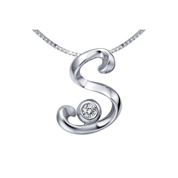 s initial alphabet diamond pendant on 10k white gold jeenjewels