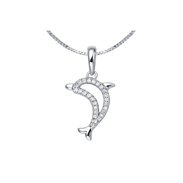 Dolphin shape diamond pendant on 9ct white gold jeenjewels 1 carat diamond pendant aloadofball Image collections