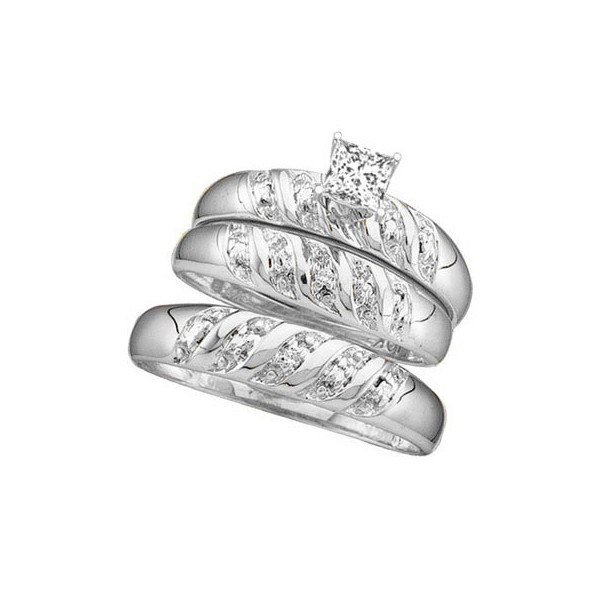 ... Ring Sets  1 Carat Trio Wedding Ring Set with His and Her matching