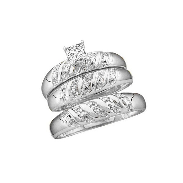 1 carat trio wedding ring set with his and her matching bands - His And Her Wedding Ring Sets