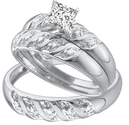 1 carat trio wedding rings set with his and her rings - His And Her Wedding Ring Sets