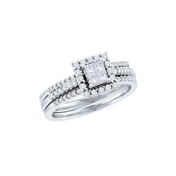 inexpensive wedding trio ring set for her with 1 carat diamond - Cheap Wedding Ring Set