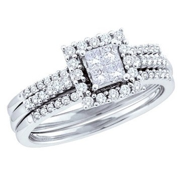 Inexpensive Wedding Trio Ring Set For Her With 1 Carat Diamond