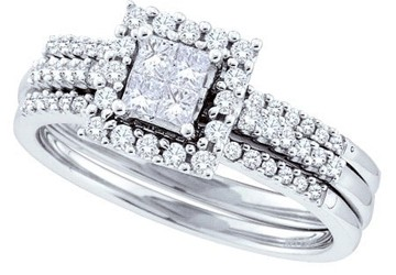 ... Inexpensive Wedding Trio Ring Set For Her With 1 Carat Diamond ...