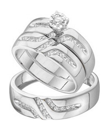 affordable 12 carat trio wedding ring set on 10k white gold - Affordable Wedding Ring Sets