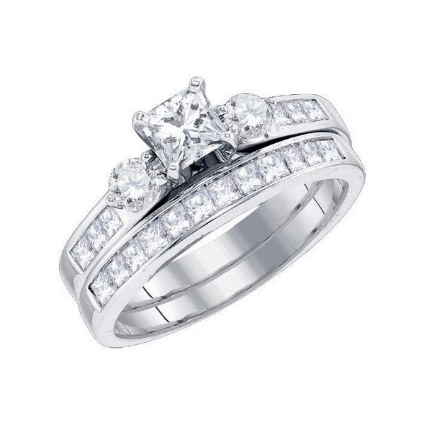2 carat princess cut diamond wedding set on closeout sale - Princess Cut Wedding Ring Set