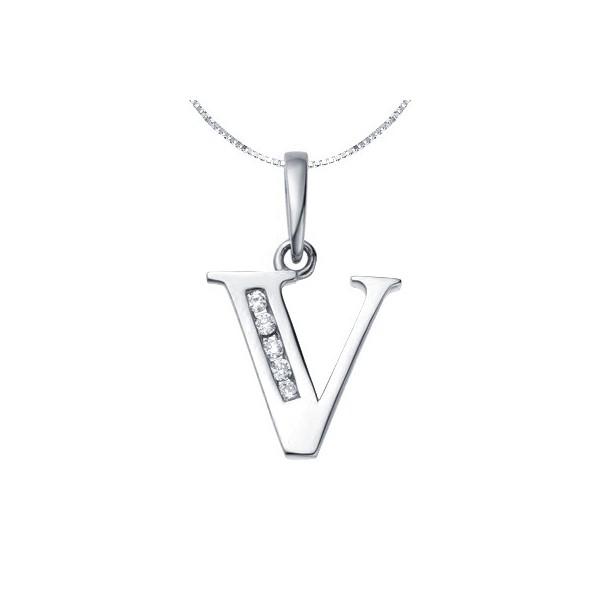 V initial diamond alphabet pendant on 18ct white gold jeenjewels 1 carat diamond pendant aloadofball Image collections