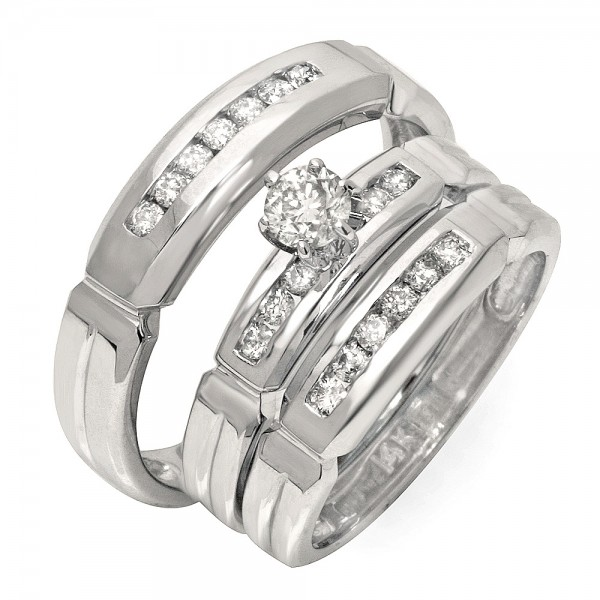 Luxurious Trio Marriage Rings Half Carat Round Cut Diamond on Gold JeenJewels
