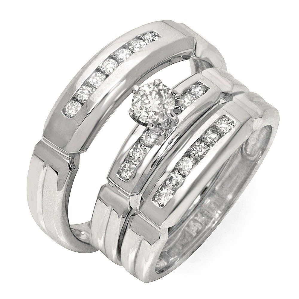 affordable half carat trio wedding ring set for him and her - Trio Wedding Rings