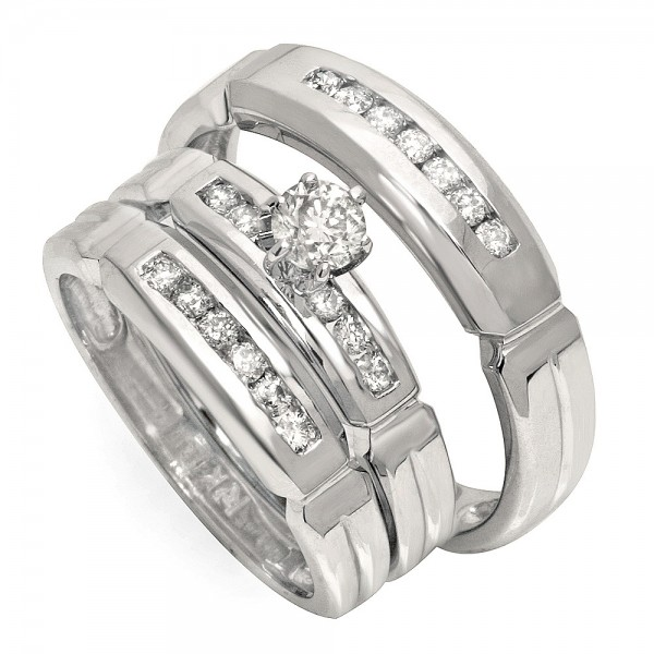 wedding ring sets affordable half carat trio wedding ring set for