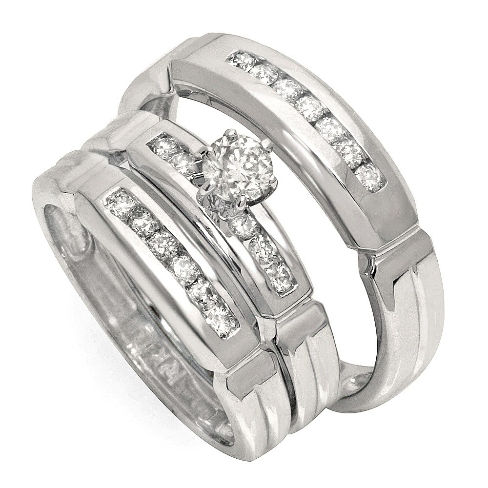 affordable half carat trio wedding ring set for him and her - Affordable Wedding Ring Sets