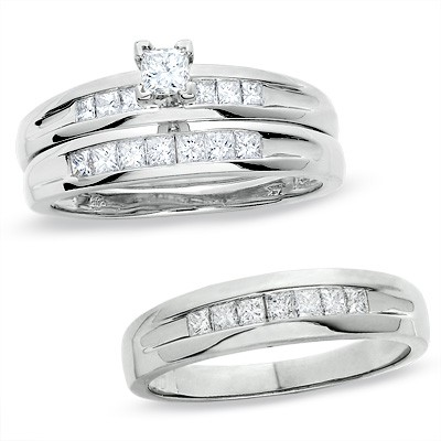 intriguing trio marriage rings 1 carat princess cut. Black Bedroom Furniture Sets. Home Design Ideas