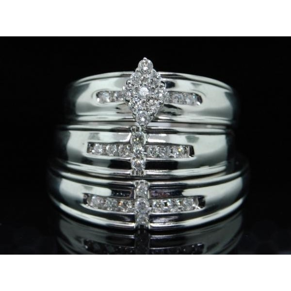 luxurious trio wedding ring set with his and her bands - Wedding Rings Sets For His And Her