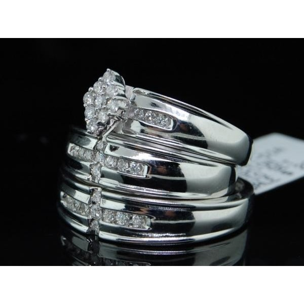 Sparkling Trio Marriage Rings Half Carat Round Cut Diamond on Gold JeenJewels