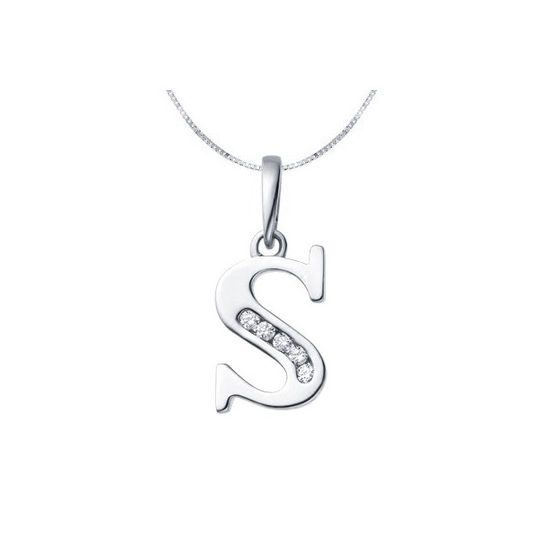 S initial diamond alphabet pendant on 18ct white gold jeenjewels 1 carat diamond pendant mozeypictures Image collections