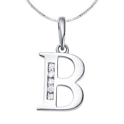 b initial diamond alphabet pendant on 18k white gold jeenjewels