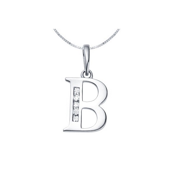 B initial diamond alphabet pendant on 18ct white gold jeenjewels 1 carat diamond pendant aloadofball Image collections