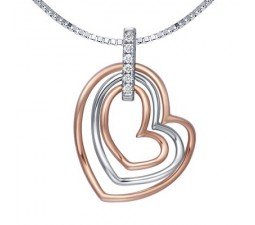 1/10 Carat Diamond Heart Shape Pendant on 18k Rose Gold