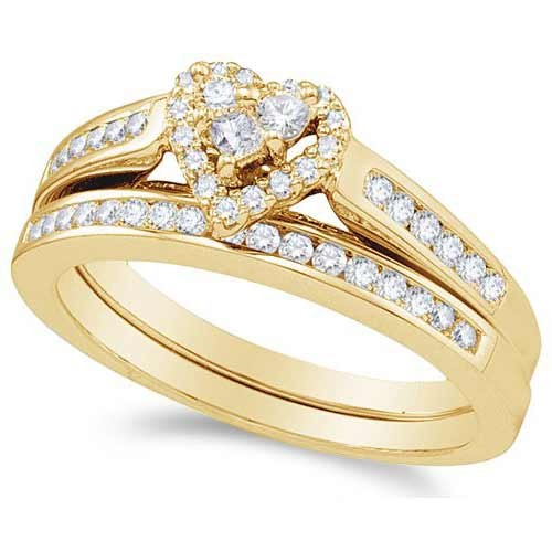 Affordable Heart Ring Halo Bridal Set Ring 1 Carat Round Cut Diamond on Gold