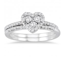1 Carat Heart shape Halo design Round diamond Bridal Set