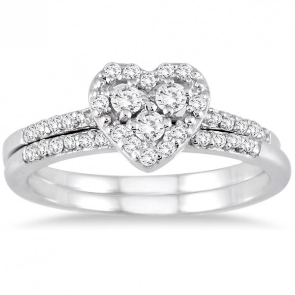 Sparkling heart ring halo wedding set ring 1 carat round for Heart shaped engagement ring box