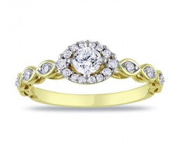 Half Carat antique style Halo Engagement Ring on 10k Yellow Gold